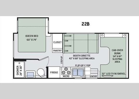 Floorplan 2016 Four Winds 22b Motor Home Class C Floor Plans