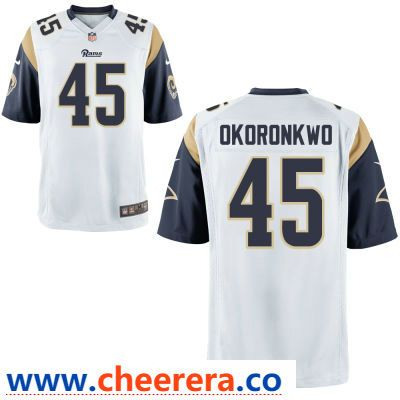 Men S Los Angeles Rams 45 Ogbonnia Okoronkwo White Road Stitched Nfl Nike Game Jersey Jersey Nfl Jerseys Nfl