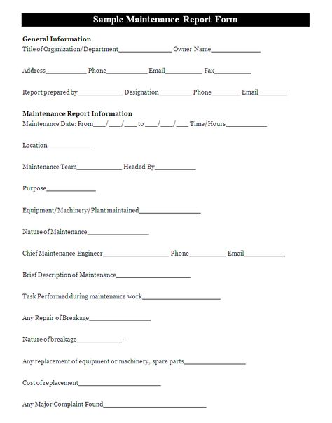 A maintenance report form is a document that is used to keep - free printable incident reports