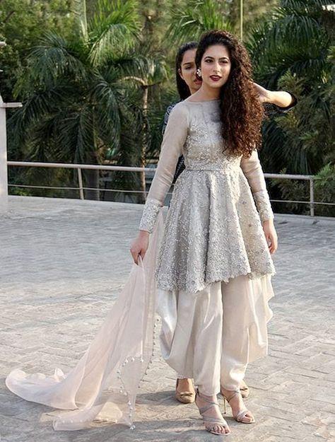 Patiala-Shalwar-With-Short-Frocks Classy Patiala Outfits-30 Amazing Ways to Wear Patiala Salwar
