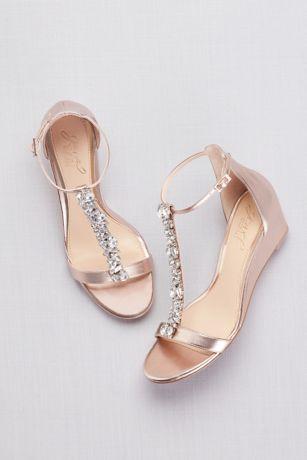 Crystal T Strap Low Metallic Wedges David S Bridal Best Bridal Shoes Bridesmaid Shoes Wedding Shoes Flats