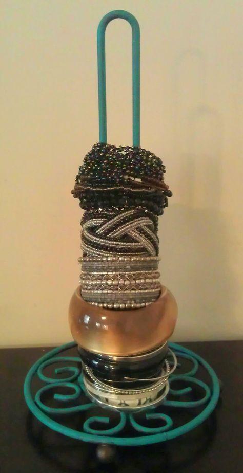 Painted Paper Towel Holder Turned Bracelet Holder....great idea!!