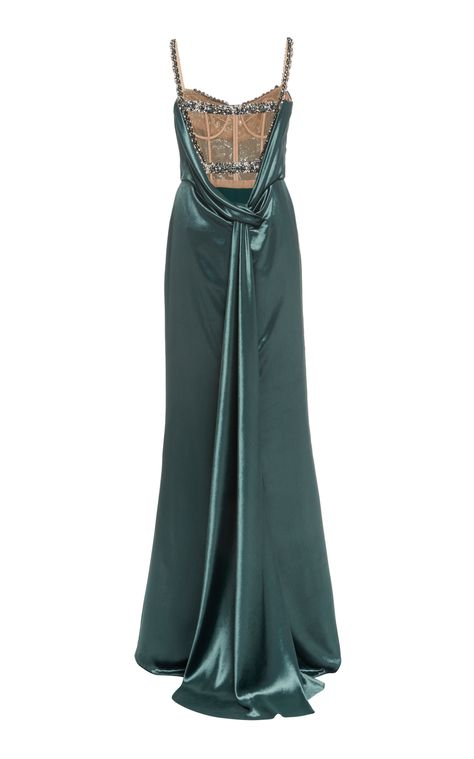 Crystal-Embellished Velvet Gown by Marchesa Vestidos Marchesa, Marchesa Gowns, Marchesa Fashion, Naeem Khan, Zendaya, Atelier Versace, Zac Posen, Christian Dior, Sleek Updo