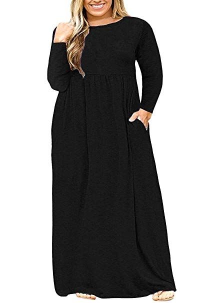 Womens Plain Long Sleeve Evening Party Casual Pockets Maxi Dress Plus Sizes
