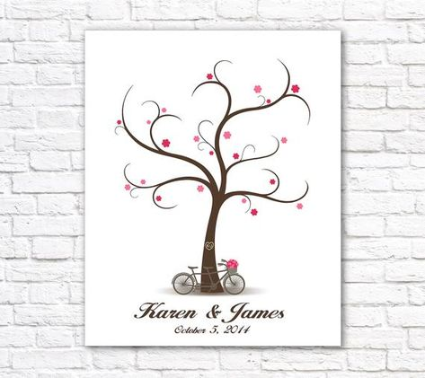 Wedding Guest Book with Tandem Bicycle, Fingerprint Guest Book Wedding Guestbook, Fingerprint Tree PRINTABLE Wedding Tree, Wedding Sign in