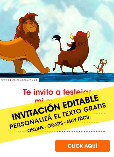 5 Invitaciones De El Rey Leon The Lion King Gratis Free Para