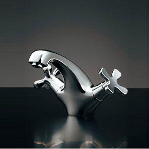 洗面用蛇口 台 2ハンドル混合水栓 吐水口高さ100 70ミリ 一般地