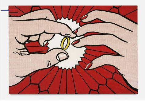"""""""The Ring"""" - Roy Lichtenstein You'd be forgiven if you thought this is printed art…The Ring (Engagement) by Roy Lichtenstein is an oil on canvas created by painting an endless amount of dots.  This technique, Ben-Day Dots, was coined by Benjamin Henry Day Junior. It's actually an inexpensive printing method that was often used in comic strips – reinvented here by a renowned Pop Artist.  #art #technique #arte #paint #artist #red #famousartists #printing #roylichtenstein #illustrator #popar"""