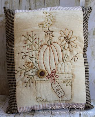 Handmade Primitive Fall Bouquet Pillow by ScrapbookingCottage Primitive Pillows, Primitive Stitchery, Primitive Patterns, Primitive Fall, Primitive Crafts, Primitive Snowmen, Primitive Christmas, Country Christmas, Wood Crafts