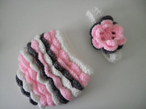 Crochet Flower Headband and Ruffle Diaper Cover in Pink and Gray. $35.00, via Etsy.