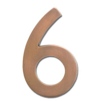 Architectural Mailboxes 4 In Flush Mount House Number Colour Antique Copper Number Six Copper House Architectural Mailboxes Floating House