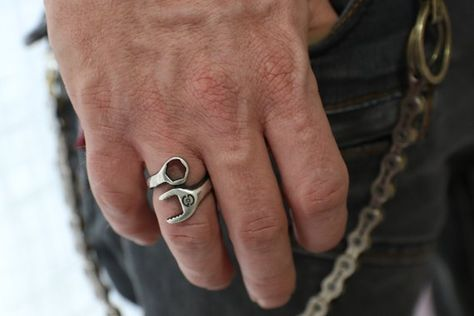 Spanner Ring Wrench Gift For Him Men Jewelry Etsymktgtool Oxidizedsilverring Ringforhimandher Punkmensring