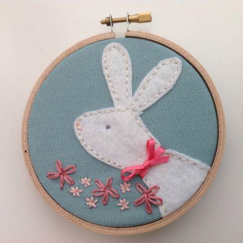 Felt Bunny hoop art.  Pastel pink and green by BoxRoomBazaar, £12.00