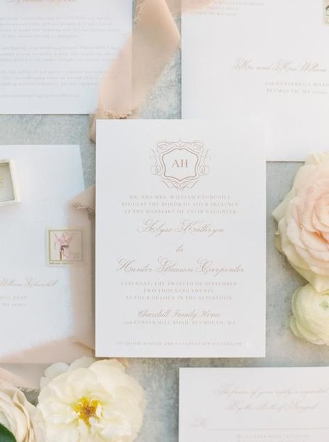 A Southern Inspired Soiree at the Bride's Waterfront Childhood Home in Massachusetts featured on Style Me Pretty from Meredith Jane Photography. Stunning florals with whites and pinks! #weddingday #blushwedding #coastalwedding