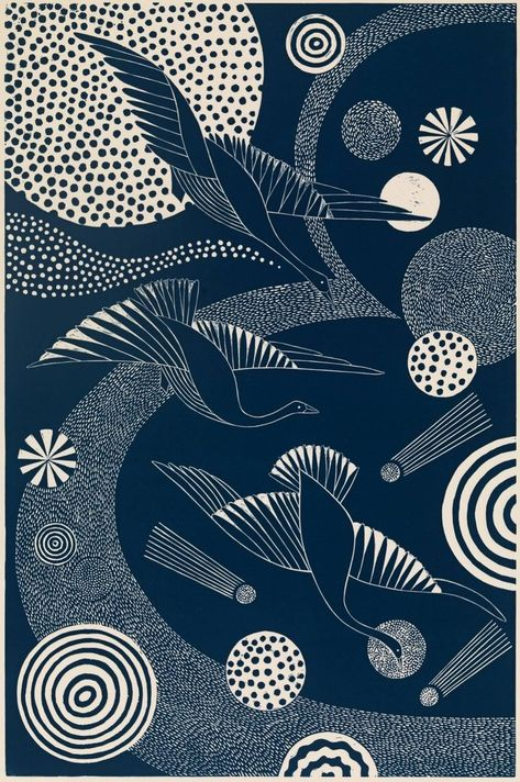 "For Sale on - ""Swooping and Swirling,"" Folk inspired Navy Linoleum Block Print of Birds Flying, Linocut by Lisa Houck. Japanese Textiles, Japanese Patterns, Japanese Art, Linoleum Block Printing, Linoprint, Museum Of Fine Arts, Linocut Prints, Bird Art, Printmaking"