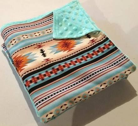 Southwest Baby Girl Shower Teal Baby Blanket Teal Baby Minky