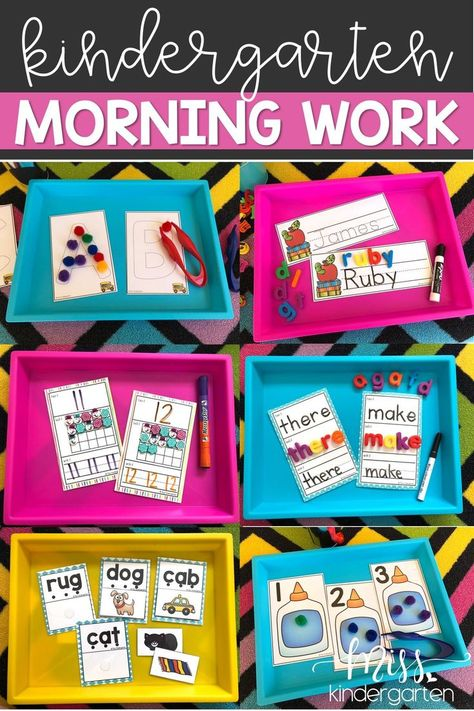 Morning work centers are the perfect way to kick off the learning for the day in your kindergarten classroom. Stick them in tubs or buckets; these activities are loaded with hands-on, engaging ideas that make learning FUN! Find an abundance of ideas to he Kindergarten Morning Work, Miss Kindergarten, Beginning Of Kindergarten, Kindergarten Lesson Plans, Kindergarten Centers, Homeschool Kindergarten, Beginning Of The School Year, Hands On Learning Kindergarten, Homeschooling