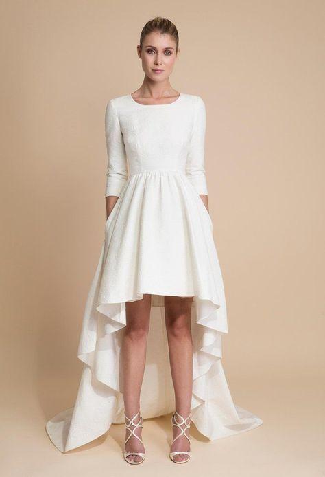 Delphine Manivet 39 Florent 39 Size 2 New Wedding Dress Front View On The Model Delph Short Bridal Dress Civil Wedding Dresses Chic Wedding Dresses