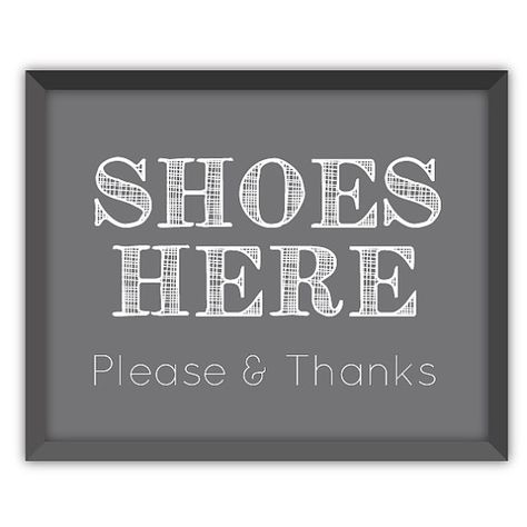 Small White All Quality Standard Thank You for Removing Your Shoes Door//Wall Sign