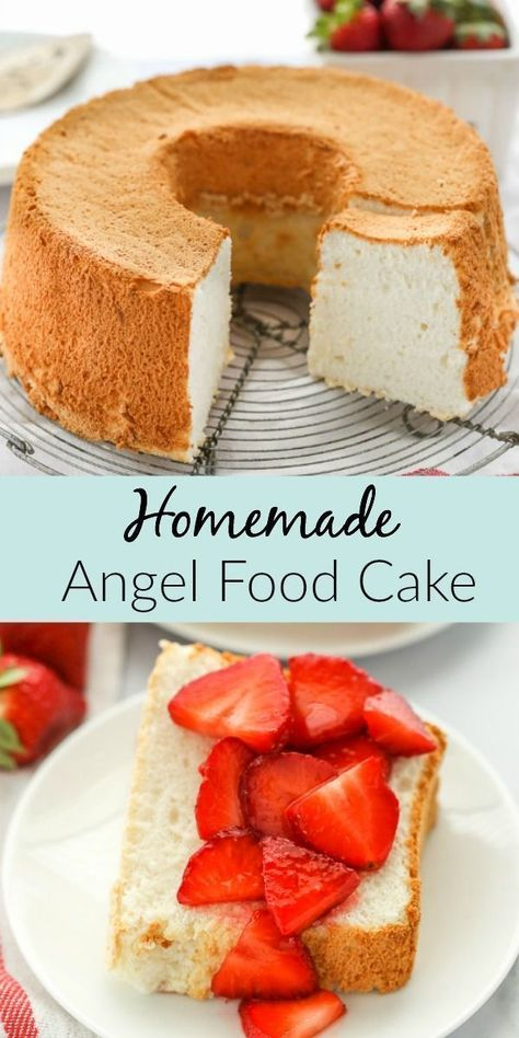 This is the only Angel Food Cake recipe you will ever need! This homemade cake i… This is the only Angel Food Cake recipe you will ever need! This homemade cake is super soft, light, airy, and turns out perfect every single time! Angel Food Cake Desserts, Angle Food Cake Recipes, Homemade Cake Recipes, Easy Desserts, Delicious Desserts, Angel Fruit Cake Recipe, Angle Food Cupcakes, Tasty Recipes For Dessert, Angel Food Cake Toppings