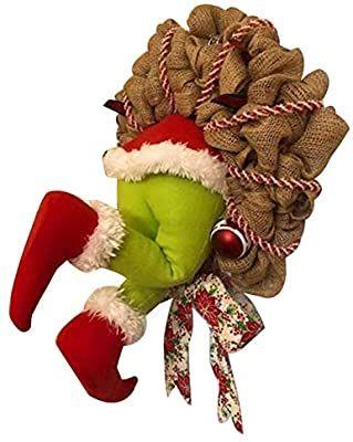 Erhetus Kerstman De Grinch Kerst Jutekrans Kerst Garland Deur Decoraties Super Leuke Grote Geschenken Voor Vrienden Amazon Nl In 2020 Deur Decoraties Kerstman Grinch