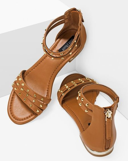 Studded sandals in a rich nutmeg tone give a subtle Boho vibe to your summer wardrobe.