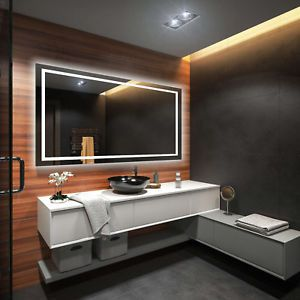 Details About Illuminated Bathroom Mirror With Backlit Led Lights Wall Mounted Battery Powered Mirror Bathroom Home