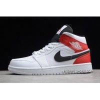 Air Jordan 1 Mid White Gym Red Black 554724 116 Outlet