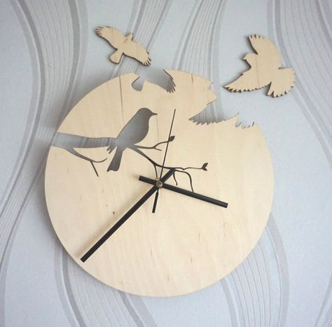 Wood wall clock, Birds wall clock - Unique clock, Unique gift - Anniversary, New Home, Engagement, Wedding Gift - Girls room clock