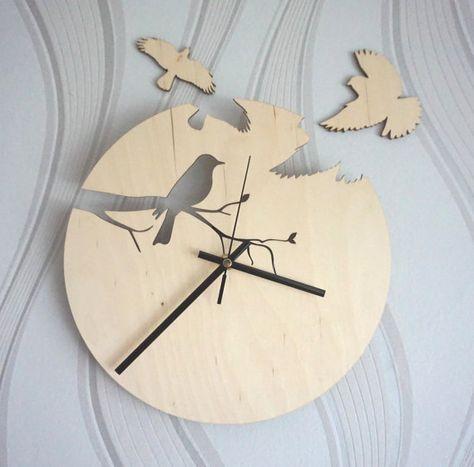 Wood wall clock, Birds wall clock - Unique clock, Unique gift - Anniversary, New Home, Engagement, Wedding Gift - Girls room clock