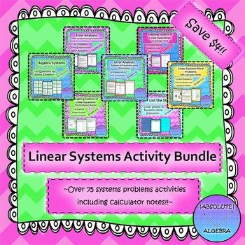 Systems Of Equations And Inequalities Activity Bundle Algebra
