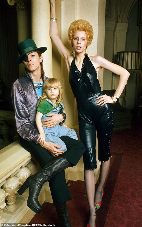 David Bowie with wife Angie and their son Zowie (age in February 1974