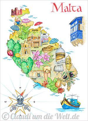 Shop Claudis Gemalte Landkarten Malta Travel Posters Poster