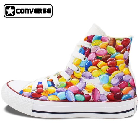 Men Womens Converse All Star Hand Painted Shoes Design Colorful Rainbow  Vortex Canvas Sneakers Flats High Top for Gift…  5cf6bfc2a8e5