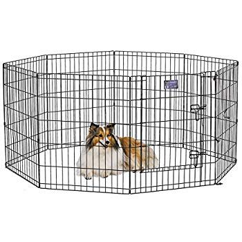 Midwest Foldable Metal Exercise Pen Pet Playpen Black W Door 24 W X 30 H Pet Playpens Dog Playpen Extra Large Dog Crate