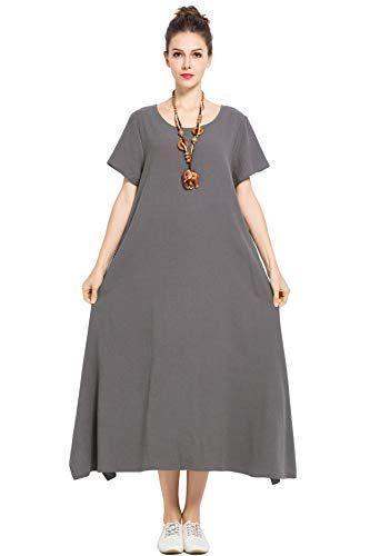 Anysize Linen Cotton Soft Loose Spring Summer Dress Plus Size Clothing Plus