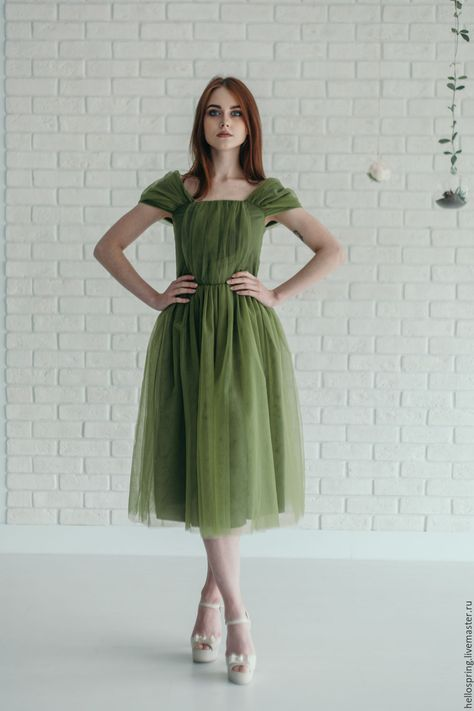 3c0aafb9f48 Купить Платье лесной нимфы из фатина оливкового цвета в интернет магазине  на Ярмарке Мастеров