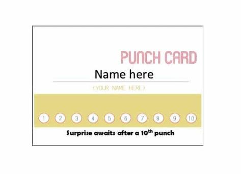 Punch Card Template Word 30 Printable Punch Reward Card Templates Free Card Templates Punch Cards Card Template