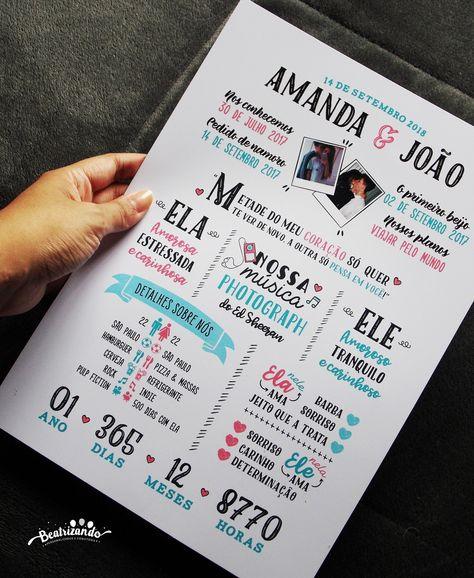 Quadro Casal Aniversário Namoro A4 (com moldura) no Elo7   Beatrizando (DB8C9D)