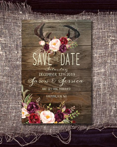 Excited to share this item from my shop: Save-The-Date Magnet: Rustic Antlers on Wood With Marsala / Plum and Blush Flowers