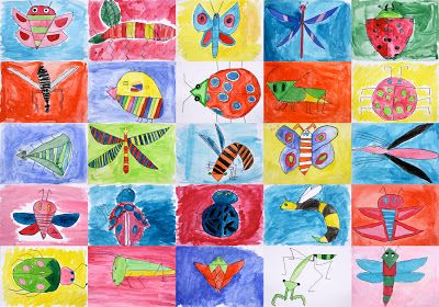 Art With Mr Hall - insect drawings in the style of artist/illustrator Ryo Takemasa.