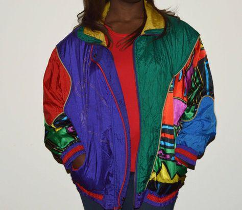 90's Venezia Vitale Bright Colored Wind Jacket on Etsy, $25.00