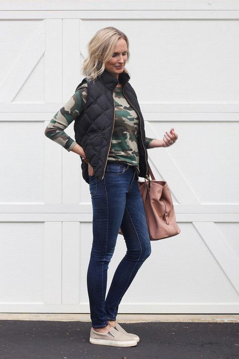 Why You Need a Camo Sweater This Season | In this blog post, I share why you need a camo sweater in your closet this season and a few ways to wear it. #outfitideas #over40 #over40fashion #over40style #momoutfit #falloutfitideas #camosweater #womensfashioncasualover40over50over40