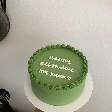 Pretty Birthday Cakes, Cute Birthday Cakes, Pretty Cakes, Beautiful Cakes, Amazing Cakes, Green Birthday Cakes, Happy Birthday, Simple Cake Designs, Korean Cake