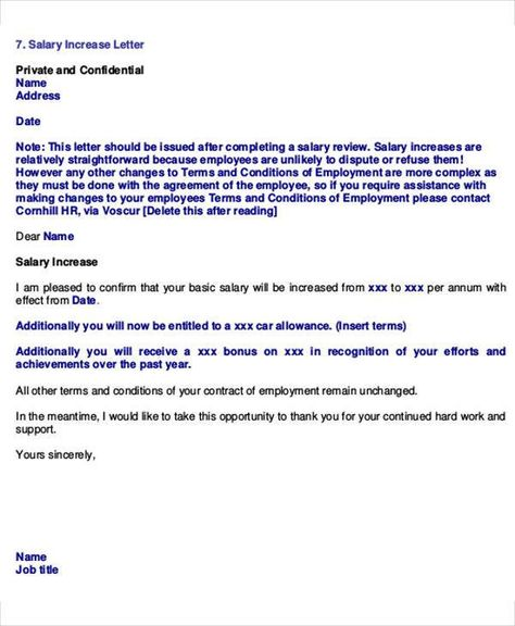 Salary Increase Proposal Template Employee Promotion