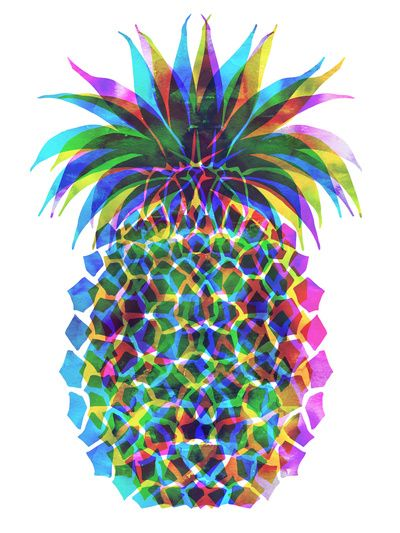 Pineapple CMYK Stretched Canvas by SchatziBrown #pineapple #tropical