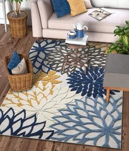 Floral Blue Yellow Gray High Traffic Stain Resistant Indoor