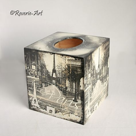 SOLD - Wintertime in Paris - Decoupaged Tissue box cover