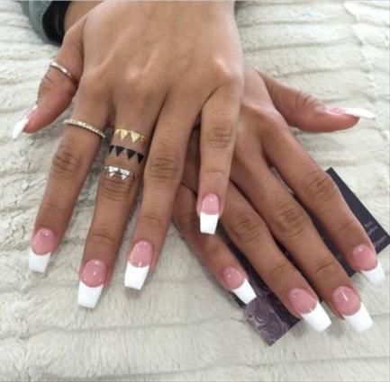 64 Trendy Nails Long Pink French Tips White Tip Nails Coffin Shape Nails French Tip Acrylic Nails