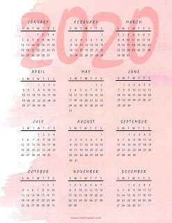 2020 Calendar Printable Pink Watercolor Design Kalendar Dlya